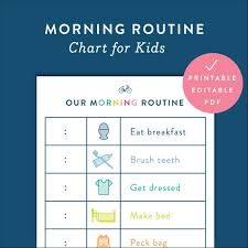 kids morning routine chart printable fillable editable digital pdf document