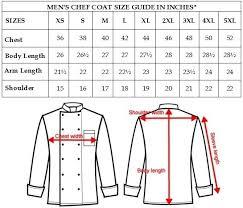 Chef Jacket Size Chart Men Cross Collar Chef Coat