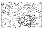 Stained Glass Coloring Book Free Coloring Pages