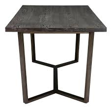 brooklyn dining table in gray oak on antique brass base round