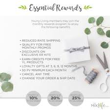 young living has a super generous rewards program for those members who chose to take advane of their auto ship program called essential rewards er
