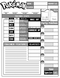 pokemon tabletop character sheet character sheet