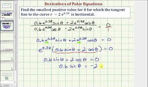 ex determine where a polar curve has a horizontal tangent line