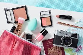flat lay of holiday makeup kit