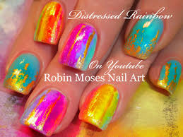 Easy Distressed Neon Rainbow Watercolor Nails | Nail Art Design ...