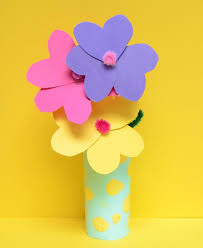 Paper Flower Pots Toilet Roll Craft Paper Flowers And Vase Kiwi Families