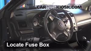 interior fuse box location 2012 2016 subaru impreza 2012 subaru locate interior fuse box and remove cover
