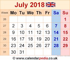 Calendar July 2018 Uk Bank Holidays Excel Pdf Word Templates