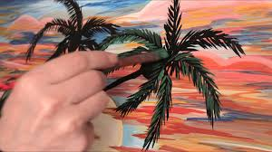 how to paint palm trees sunset acrylic painting time lapse sd art