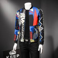 royal blue pattern jacket 2018 mens er jacket luxury social club party prom stage clothing for men oversize 5xl men leather jacket nylon jacket from
