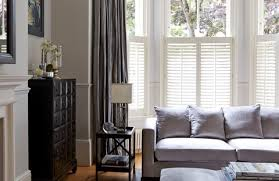 window shutters with curtains.  Curtains Pure White Cafestyle Shutters With Erika Charcoal Curtains In Window With N