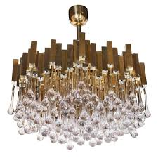 brass and crystal droplet chandelier by sciolari