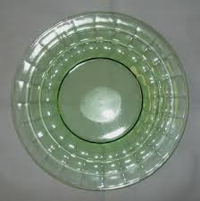 block optic green depression glass luncheon plate