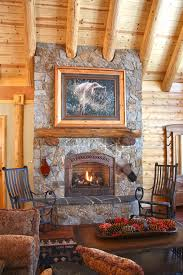california log home great room with stone fireplace