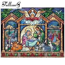 <b>FULLCANG</b> 5d <b>diy diamond painting</b> cross stitch religious icon full ...