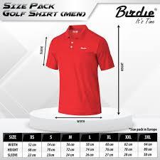 Size Chart Golf Sport Lifestyle
