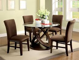 image of round glass dining room table sets