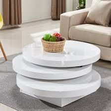 triplo rotating coffee table round in white high gloss 2
