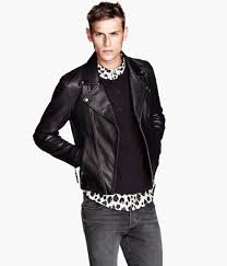 hu0026m leather biker jacket in black for men lyst