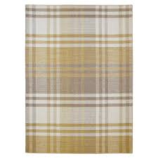 Colours Marqurite Neutral & Gold Tartan Rug (L)1.7M