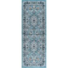 aqua gray and navy 7 foot runner rug kensington rc willey furniture