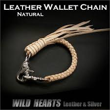 genuine leather wallet chain braid strap natural wild hearts leather silver id wc1977r21