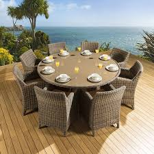 rattan garden outdoor dining set round table 8 chairs mocha beige