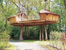 Outdoor Awesome Treehouse Plans Designs Beautiful
