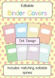 Free Editable Binder Covers And Spines Binder Covers And Spines Dot Themed Editable Binder