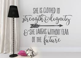 Wall Quotes Inspiration Quote Wall Decal She Is Clothed In Strength And Dignity Etsy