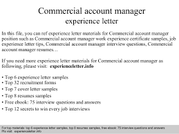 Commercial Account Manager Experience Letter