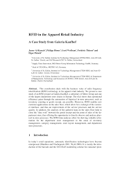 Pdf) Rfid In The Apparel Retail Industry: A...