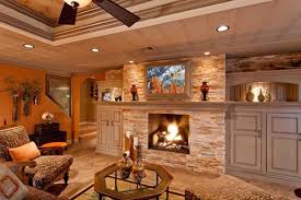 rustic basement ideas with fireplaces