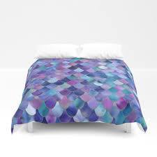mermaid gems purple pink teal blue green duvet cover