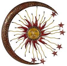 metallic hammered metal sun moon