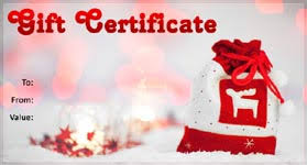 christmas gift card templates gift template select a gift certificate template to customize