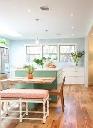 kitchen island with a lateral table extension view