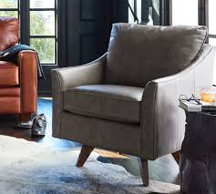 living room with authentic leather reegan high leg swivel chair