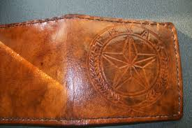 custom made custom leather wallet with custom interior texas star design and in weathered color