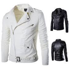 details about fashion men slim faux leather biker motorcycle jacket er coat windbreaker