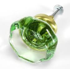 green crystal octagon glass cabinet knobs
