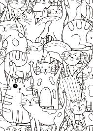 But also a great learning tool for kids. Coloring Page With Doodle Cats Printable Coloring Page For Etsy