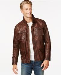 brown leather er jackets tommy hilfiger leather four pocket field jacket