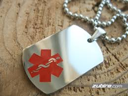 medical dog tag with a large medical sign