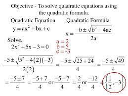 to solve quadratic equations using the