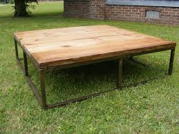Steel Coffee Table Frame Brick Makers Table Rustic Metal Frame And Old Pine Finish Top