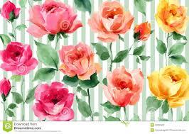 Engels Kleurrijk De Waterverf Bloemen Naadloos Behang Van Tuinrozen