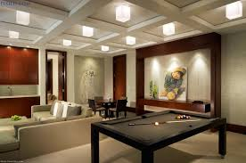 Fancy Basement Game Room Ideas With Wooden Pool Table And Cream Sectional  Sofa ...