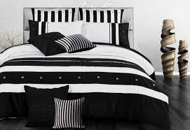queen size black white striped quilt cover set 3pcs