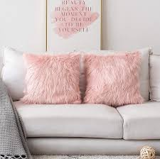 Home Brilliant Decorative Faux Fur Euro Sham Throw Pillow Covers Large Square Pillowcases For Couch Set Of 2 24 X 24 Inch Pink
